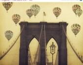 "Birthday Sale Brooklyn Bridge - 8x10 photograph - ""Balloons over the Bridge"" - fine art print - vintage photography - Hot Air Balloons - whi"