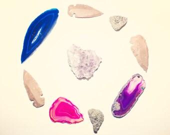 Crystals and Stones - found art - 8x10 photograph - Home Decor - fine art print - crystals - arrowhead