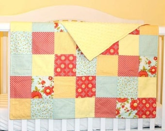 Baby Girl Patchwork Quilt, Yellow Minky Fabric, Yellow, Mango, Peach, Blue, Pink