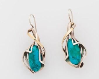 Turquoise Earrings, Dangle Earrings, 925 Sterling Silver Earrings, 14K Yellow Gold Earrings, GRACE Gemstone Earrings, women gift jewelry