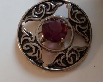 Scottish traditional Celtic knot and amethyst brooch