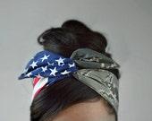 AirForce Girlfriend, Air Force bow, Headband - American headband, Flag Headband - Hair Bows A2