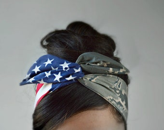 Air Force Girlfriend, Air Force bow, Headband - American headband, Flag Headband - Hair Bows A2