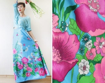 Blue pink colorful poppy floral print wide A-line floor length maxi skirt Plus Size