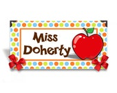 personalized teacher desk name plaque classroom sign -  big red apple and colorful frame green orange blue dots classroom decor  - SS12