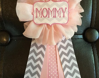 Pink Gray Chevron Baby Shower Pin Mommy To Be Pin Flower Ribbon Pin Corsage  Mom Mama