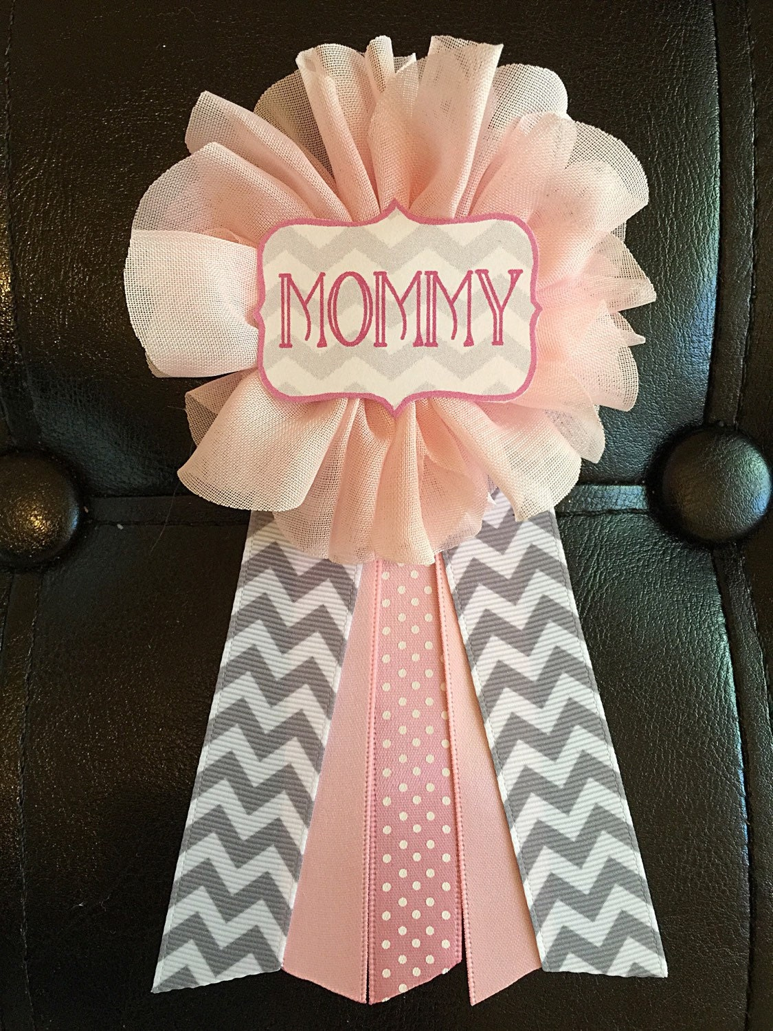 pink gray chevron baby shower pin mommy to be pin flower