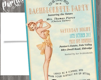 Vintage Pin Up Girl  Invitation- Bachelorette party, Hens night, Lingerie Shower Birthday invite diy print file