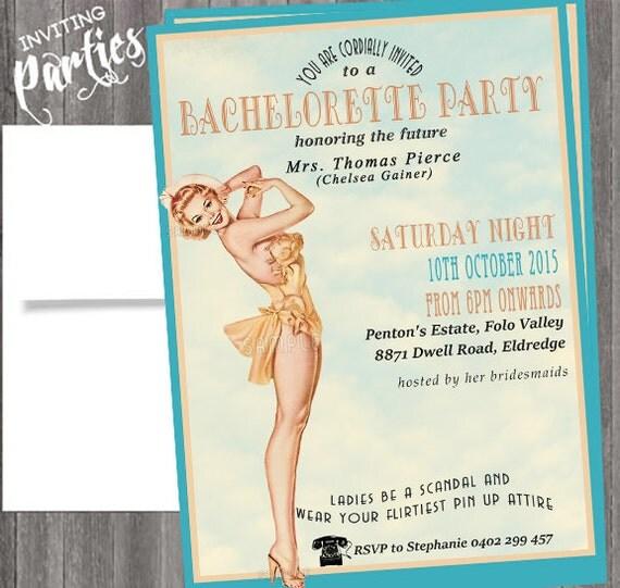 Vintage Pin Up Girl  Invitation- Bachelorette party, Hens night, Lingerie Shower Birthday invite diy print file