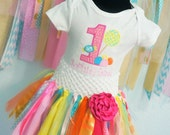 1st birthday tutu and bodysuit,  Lolipops and candy drops, bright colors, for your sweet 1 year old.  Personalized with child's name.