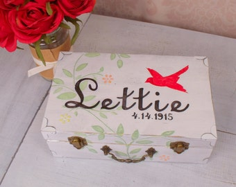 Shabby Chic Memory Box, Keepsake Box, Red Bird, Birthday, Graduation, Retirement, Hand Painted Personalized Box, SHB