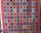 Antique quilt, square-in-a-square pattern, ca.1880-1900, many wonderful fabrics