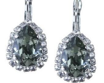 Gray Earrings Silver Earrings Pear Shaped Clip On Avai Silver Earrings Dangle Earrings Grey Swarovski Crystal Earrings Bridal Jewelry Halo