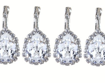 Crystal Bridesmaids Earrings Set of 6 Pairs Wedding Jewelry Clear Earrings White Pear Shaped Swarovski Crystal Lever back Silver Earrings