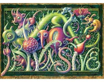 """Pop surrealism art print ~8x10"""" Invasive: Creepy-cute creatures & plant oddities in a mysterious fantasy landscape. Surreal nature, monsters"""