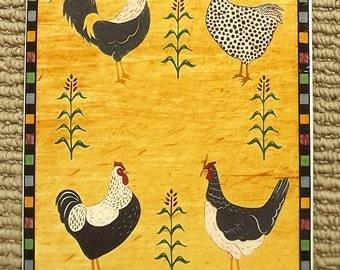 Vintage Sakura Warren Kimble Ceramic Country Quartet Rooster's Trivet