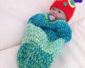 Newborn Very  Hungry Caterpillar baby hat and cocoon, newborn photo prop, baby shower gift.