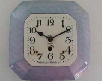 Vintage Blue Lusterware Ceramic Clock Face -- Newark Clock Co. Inc.