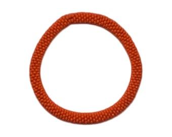 Orange Handmade Beaded Bracelet, Seed Beads, Crocheted in Nepal