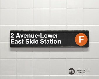 2 Avenue-Lower East Side Station - New York City Subway Sign - Wood Sign