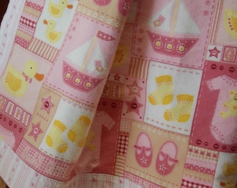 Handmade large flannel girl baby toddler blanket cottage shabby chic roses crib pinks, nursery toys, shoes, receiving, reversible