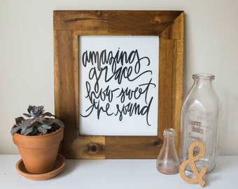SALE Typography Hymn Print: amazing grace how sweet the sound
