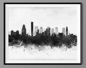 Boston MA Black and White Skyline - Watercolor Art Print Poster - Housewarming, Home Decor, Wall Hanging, Home Living Prints Massachusetts