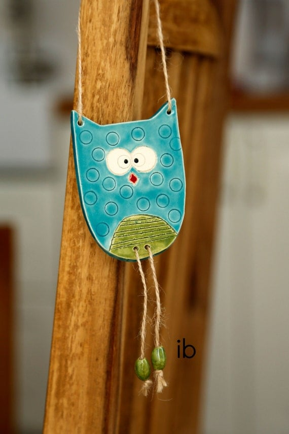 Nursery Decor Owl Ornament Woodland Ceramic Wall Art Pottery Aqua and Green