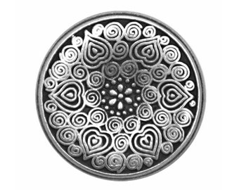 2 Midsummer 7/8 inch ( 23 mm ) Metal Buttons Silver Color