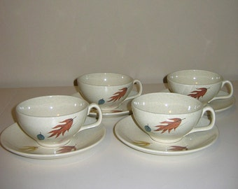 Vintage 1950s Franciscanware in the Autumn Leaves Pattern — Cup & Saucer Sets