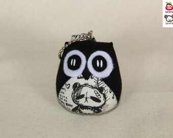 Bebe - Owl Doll with Bag: plush, keychain, children, kid, baby, cute, kid, boy, kawaii, black, fabric, drawing, little, colorful, iammie