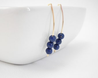 Blue Lapis and 14k Gold Filled Earrings / Modern Simplicity / Trio Earrings / Minimalist / Stacy Earrings