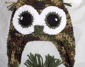 Crochet Owl Hat choose from several sizes