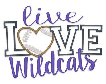 Live Love Wildcats Applique Embroidery Design - Instant Download