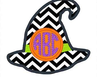 Witch Hat Monogram Frame Embroidery Design - Instant Download