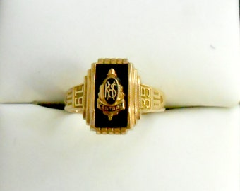 1939 10K Rose Gold Enamel High School Ring size 5