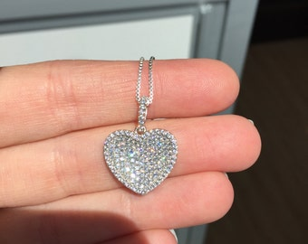 Sterling Silver Micropavé CZ Caved in Heart Necklace