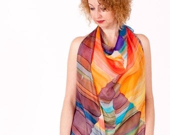 Silk scarf hand painted Abstract multicolor wearable art hand dyed - ready to ship