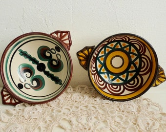 Vintage pair of  FRENCH NAME BOWLS, Cafe au Lait Bowls, Personalized Ceramics from France. Catherine and Noëlle.