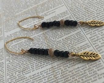 Black and Tan Tribal Beaded Drop Earrings