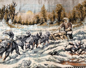 SALE / Vintage Wall Tapestry / Doggsledding Collectible / Unique Tapestry / Something for the Mancave