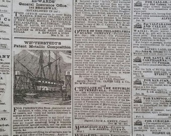 1850's Shipping and Commercial List | Antique Document | Advertising | Pre-Civil War Era | LIMITED SUPPLY