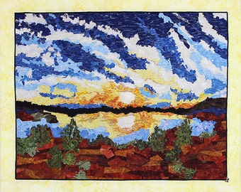 Fiber Art Quilted Wall Hanging Mounted on Canvas, Sunset over Lake Quilt