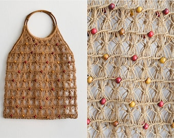 Vintage Macrame shopping bag handmade purse 70s summer wooden handles