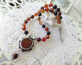 Brown Agate Necklace, Stones Necklace, Brown Agate Pendant, Fall Fashion, Necklace in Brown, OOAK Elegant,Feminine, Women Gifts