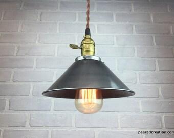 Metal Shade Pendant Lamp - Industrial Pendant Light - Ceiling Light - Industrial Lighting - Edison Bulb Hanging Light