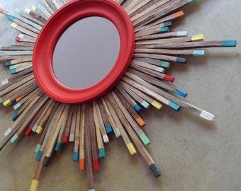 "27"" Mid Century Modern Large Colorful Walnut Wood Starburst Mirror Art, Made to Order"