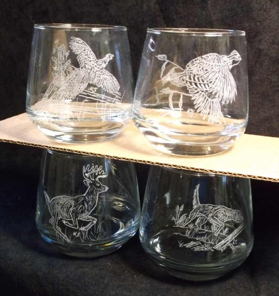 hand engraved whiskey glasses, hunters drink glass, hand engraved wildlife glass,  4 hand engraved glass, deer, pheasant, dog, quail glass