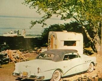 RARE 1950s Travel Trailer Postcard, Camping on Olympic Peninsula, Snapshot Color Chrome Photograph, Washington Souvenir
