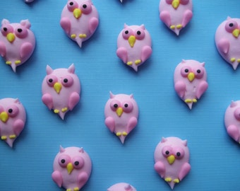Royal icing owls -- any color -- Edible Handmade cupcake toppers cake decorations  (12 pieces)